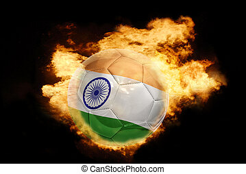 football ball with the flag of india on fire