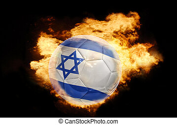 football ball with the flag of israel on fire