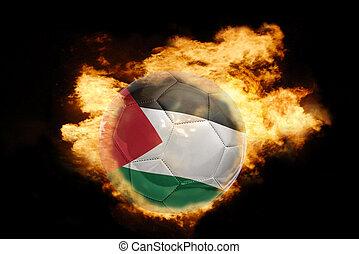 football ball with the flag of jordan on fire