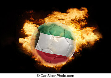 football ball with the flag of kuwait on fire