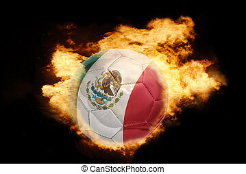 football ball with the flag of mexico on fire