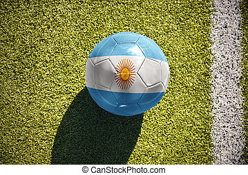 football ball with the national flag of argentina lies on the field