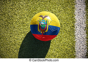 football ball with the national flag of ecuador lies on the field