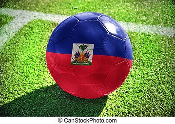 football ball with the national flag of haiti