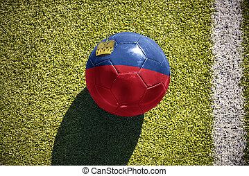 football ball with the national flag of liechtenstein lies on the field