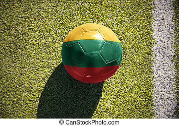 football ball with the national flag of lithuania lies on the field