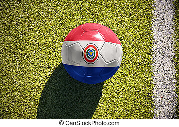 football ball with the national flag of paraguay lies on the field