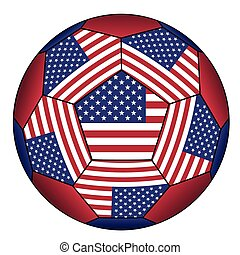 Football ball with United States flag - Soccer ball with...