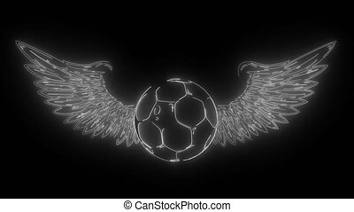football ball with wings emblem soccer digital neon video