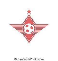 Football ball with wings logo, soccer mockup emblem, t-shirt sport print
