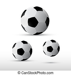 Football Balls Illustration Set Isolated on Grey Background