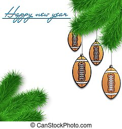 Football balls on Christmas tree branch - Congratulations to...