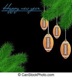 Football balls on Christmas tree branch - Congratulations to...