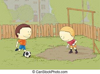 football, bambini giocando