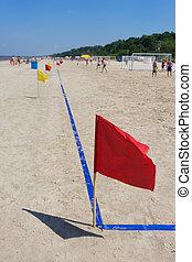football bandeira, praia, vermelho, passo