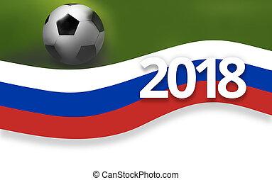 football, bandiera, 2018, fondo, calcio, russia, 3d