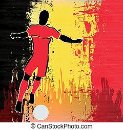 Football Belgium, Vector Soccer player over a grunged...