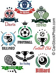 Football, billiards, darts, hockey and tennis logo -...