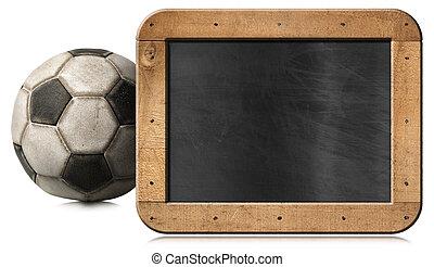 football, blanc, vieux, balle, isolé, tableau noir, vide