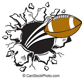 Football bursting through wall