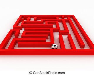 football-boule, dans, les, labyrinthe, isolé, blanc, arrière-plan., 3d