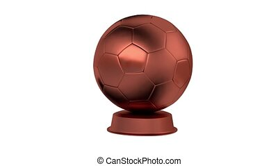 Football Bronze Trophy in Infinite Rotation