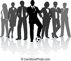 Football business team - Editable vector illustration of a ...