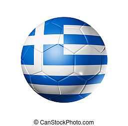 football calcio, palla, con, bandiera grecia