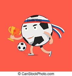 Football Cartoon Character Celebrating Victory Holding Trophy Vector Illustration