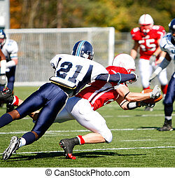 Football - Catch and Tackle - The running back dives for the...