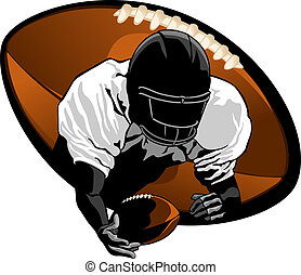 illustration of a football player making a diving catch. Closeup with a football background.
