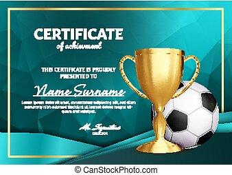 football, certificat, diplôme, à, doré, tasse, vector., football., sport, récompense, template., accomplissement, design., honneur, arrière-plan., a4, horizontal., illustration