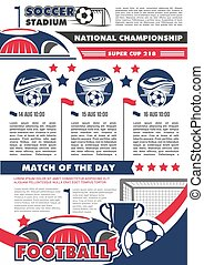 Football championship banner with soccer ball