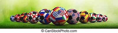 Football championship concept mixed media