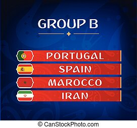 Football championship groups. Set of national flags. Draw result. Soccer world tournament. Group B.