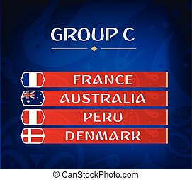 Football championship groups. Set of national flags. Draw result. Soccer world tournament. Group C.