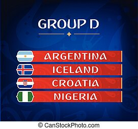 Football championship groups. Set of national flags. Draw result. Soccer world tournament. Group D.