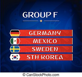 Football championship groups. Set of national flags. Draw result. Soccer world tournament. Group F.