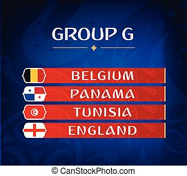 Football championship groups. Set of national flags. Draw result. Soccer world tournament. Group G.
