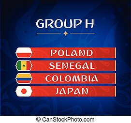 Football championship groups. Set of national flags. Draw result. Soccer world tournament. Group H.
