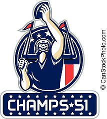 Football Champs 51 New England Retro - Illustration of an...