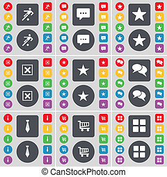 Football, Chat bubble, Star, Stop, Star, Tie, Shopping cart, Apps icon symbol. A large set of flat, colored buttons for your design.