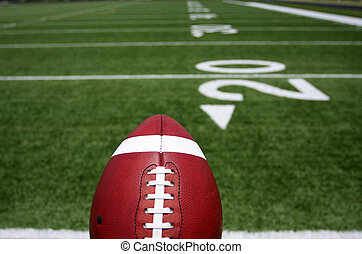 Football close up with the Field Beyond