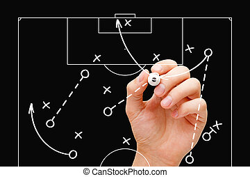 Football Coach Game Tactics - Coach drawing soccer game...