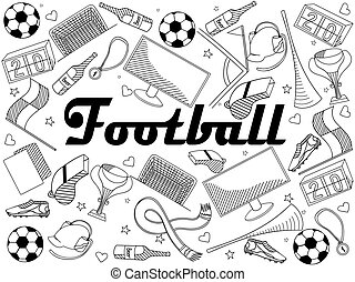 Football coloring book vector illustration