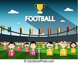 Football Competition Symbol with Cup and Team on Stadium. Vector.