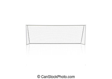 football concept showing empty football goal posts with goal net