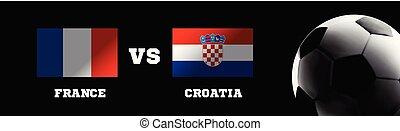 football, contre, france, vecteur, croatie, stadium., drapeaux, herbe, toile de fond