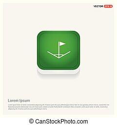 Football Corner Flag Icon Green Web Button