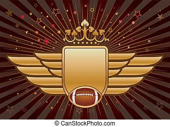 football, corona, americano, ala, scudo